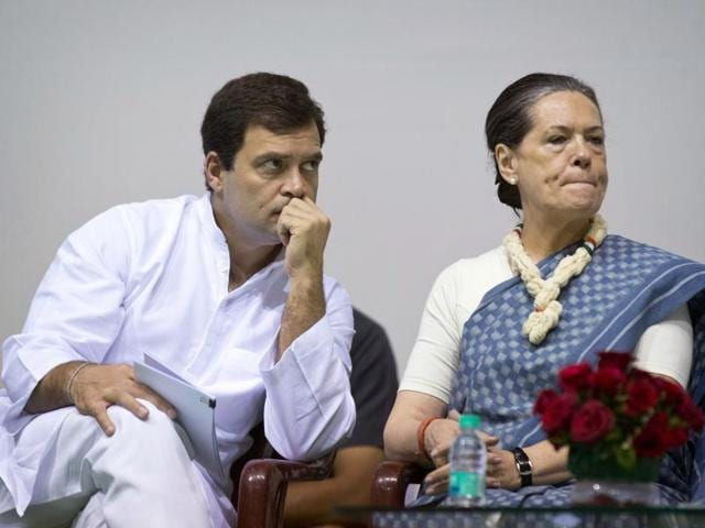 In this file photo, Congress president Sonia Gandhi and party vice-president Rahul Gandhi listen to a speaker during celebrations marking the 125th birth anniversary of the first Indian Prime Minister Jawaharlal Nehru in New Delhi.