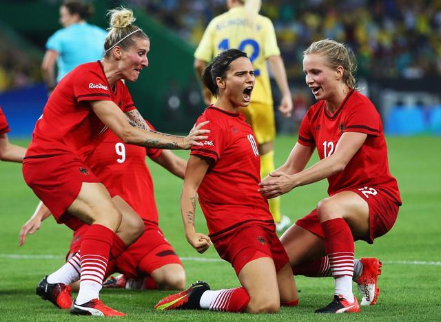 Dzsenifer Marozsan of Germany celebrate her goal during the Women's Olympic Gold Medal match between Sweden and Germany at Maracana Stadium on Saturday in Rio de Janeiro, Brazil. (Getty Images)