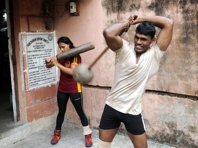 Practice session at  Panchanan Bayam Samity, the only wrestling club with a mat in Bengal