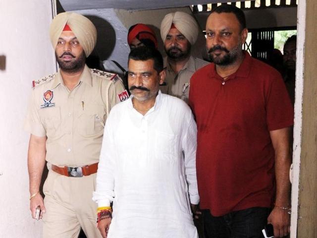 Gau Raksha Dal chief of Punjab Satish Kumar coming out of Rajpura court on Sunday.