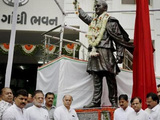 Gujarat Congress leaders paid tributes at the statue of former prime minister Rajiv Gandhi on the eve of his 72nd birth anniversary in Ahmedabad on Friday.