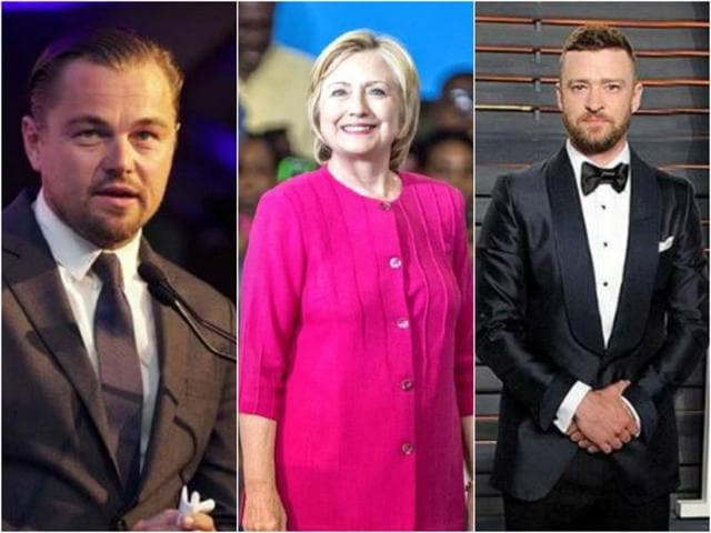 Justin Timberlake,Leonardo DiCaprio,Hillary Clinton