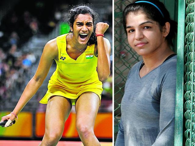 PV Sindhu (left) won the silver medal in women's singles badminton and Sakshi Malik (right) won the bronze in women's freestyle wrestling 58-kg at Rio Olympics.