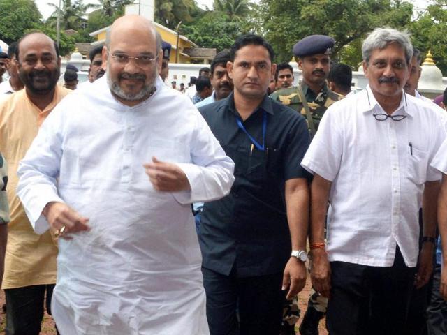 BJP president Amit Shah along with defence minister Manohar Parrikar visits Shri Mahalasa Narayani Temple at Verna, Goa on Saturday.
