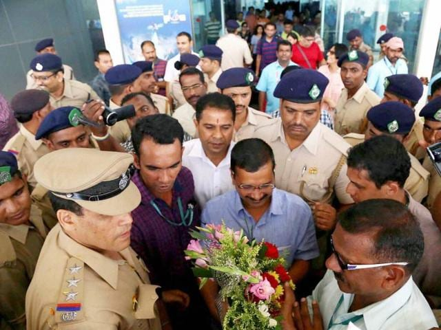 Delhi chief minister Arvind Kejriwal arrives at Vasco to dabolim airport in Goa.