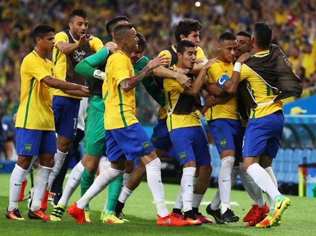 After scoring Brazil's opener in regular time, Neymar scored the winning penalty to give hosts their first Olympic gold in football.
