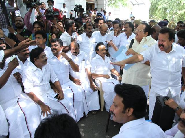 Opposition leader MK Stalin along with other DMK legislators during a protest outside the Tamil Nadu Assembly in Chennai on Thursday.