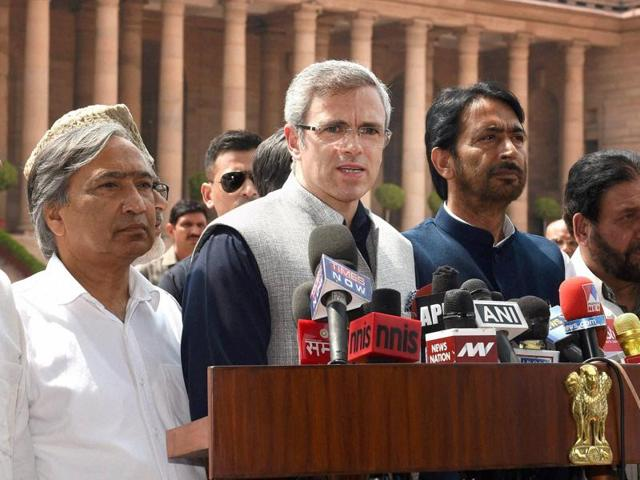 Former chief minister of Jammu and Kashmir Omar Abdullah talking to reporters after a delegation of all opposition parties from the state led by him called on President Pranab Mukherjee at Rashtrapati Bhavan in New Delhi on Saturday.