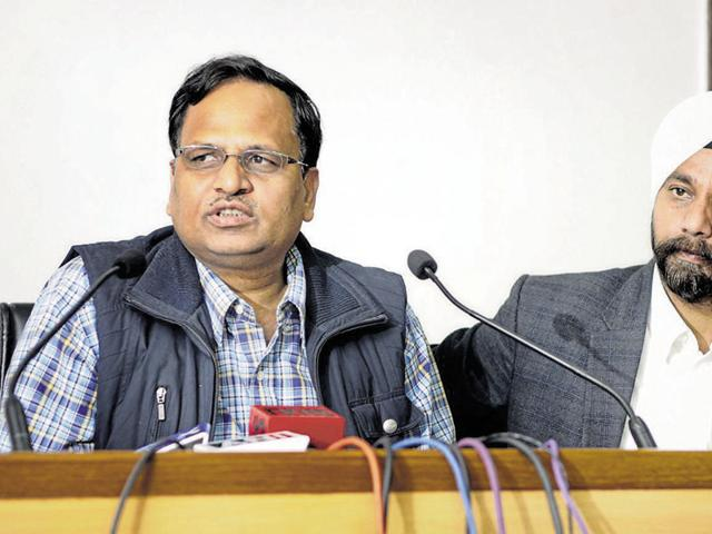 """Delhi health minister Satyendra Jain (left) is the chairperson of the """"Society for Universal Healthcare in Delhi""""."""