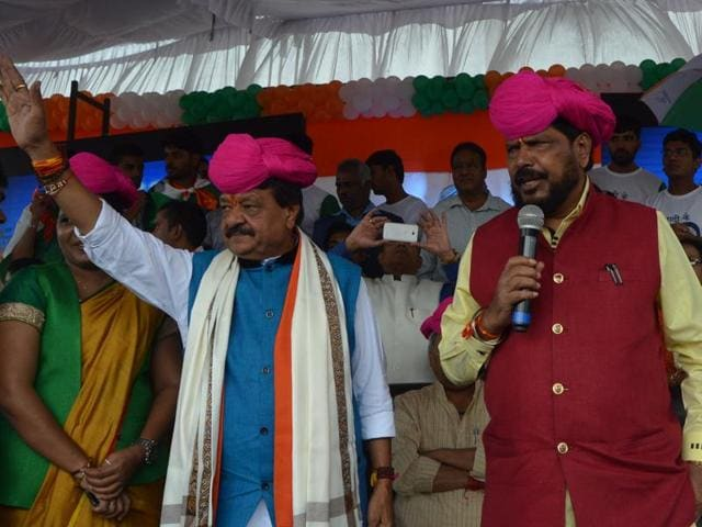 Union minister of state for social justice and empowerment Ramdas Athawale addresses a gathering before flagging off Tiranga Yatra in Indore.