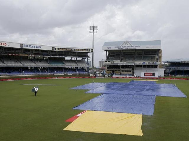 Rain falls on Queen's Park Oval in Port-of-Spain, Trinidad. Match officials called off day three of the fourth cricket Test match between India and West Indies.