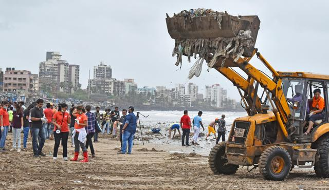 Versova beach clean-up drive underway. People from all walks of life participated in the drive, lending their hands at Versova Jetty beach, Andheri, in Mumbai on Sunday, August 7, 2016.