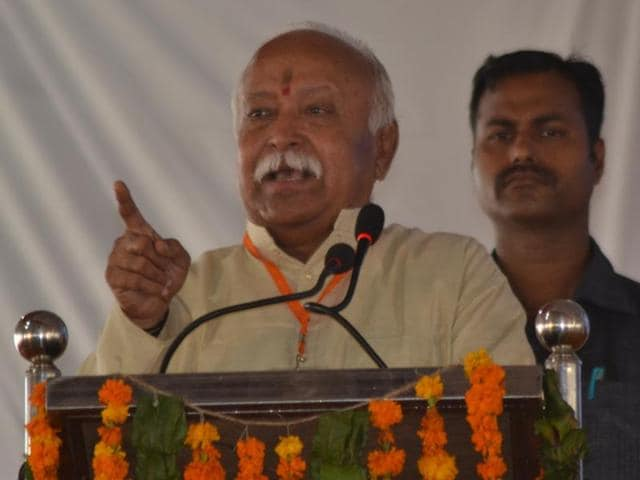 RSS chief Mohan Bhagwat speaks at a teachers' conference in Agra on Saturday.