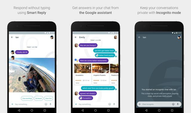 According to the screenshots, Allo other than instant messaging will allow users to share location, photos, or videos taken from inside application, and also the files taken in a phone's gallery.