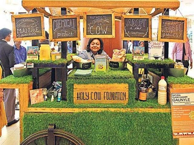A kiosk of Holy Cow Foundation which sells products made from using cow urine. The Darul Uloom in Deoband has ruled that use of any product which contains cow urine is banned in Islam.