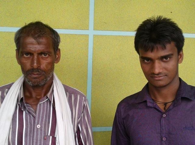 Chaub Singh with his farmer cum masonry labourer father Ramsahay Singh from Dholpur district. Chaub Singh has been selected in NEET 2016 exam.
