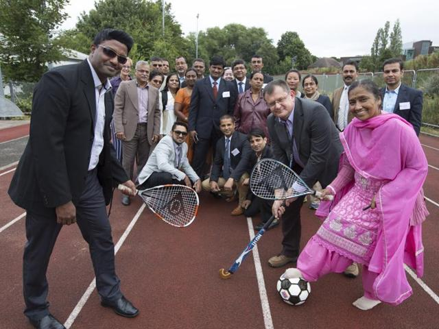 Indian coaches and sports scientists outside the school of Sport, Exercise and Rehabilitation Sciences at the University of Birmingham. Rajdeep Kaur Talwar is pictured centre left.