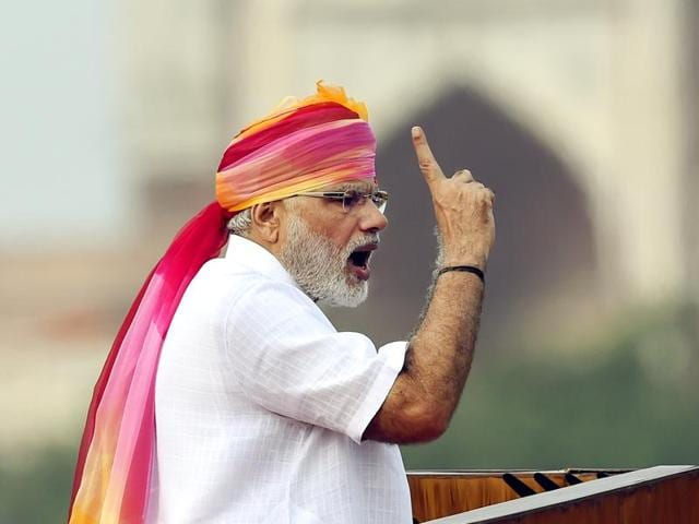 Prime Minister Narendra Modi during his Independence Day speech in New Delhi.