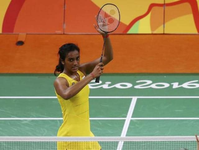 Silver medallist PV Sindhu poses after her match against Carolina Marin of Spain in Rio de Janeiro, Brazil.