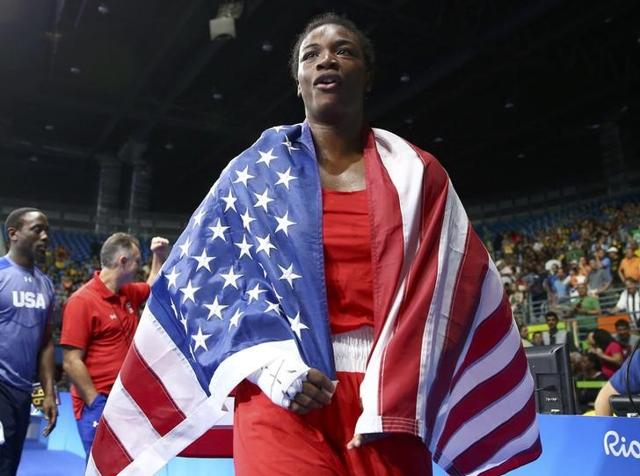 Claressa Shields (USA) reacts after winning her bout against Nouchka Fontijn (NED).