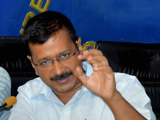 Delhi chief minister Arvind Kejriwal addresses a press conference in New Delhi.