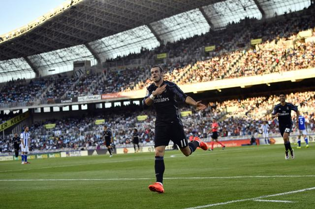 Real Madrid's Gareth Bale in action. Bale was the only member of the renowned 'BBC' forward line who was fit enough to play in Sunday's game, as Zinedine Zidane's team travelled to San Sebastian in the midst of an injury crisis, with five regular starters unable to make the squad.