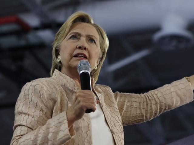 Democratic presidential candidate Hillary Clinton speaks at campaign event at John Marshall High School in Cleveland.