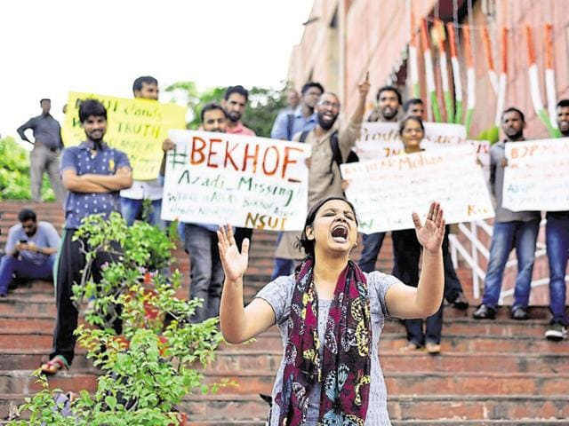 Students protest at JNU after 28-year-old PhD student on Sunday filed a rape complaint against another student, police said.