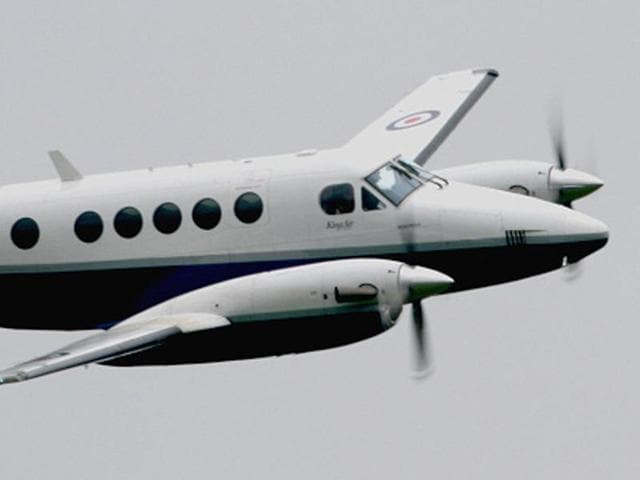 The Beechcraft 200 Super King plane that will be used for the flight, at Ludhiana on Monday.