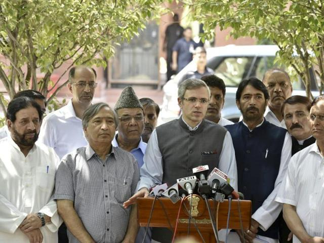 National Conference leader Omar Abdullah (Centre) is flanked by opposition party leaders from Jammu and Kashmir as he speaks to the media in Delhi after meeting the prime minister.
