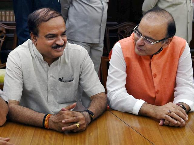 Union ministers Arun Jaitley and Ananth Kumar at Parliament House in New Delhi.