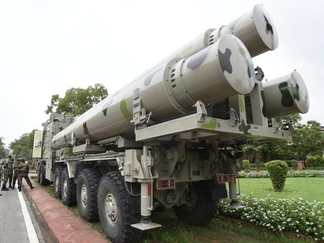 BrahMos missiles are seen at the Parliament House ahead of an exhibition in New Delhi.