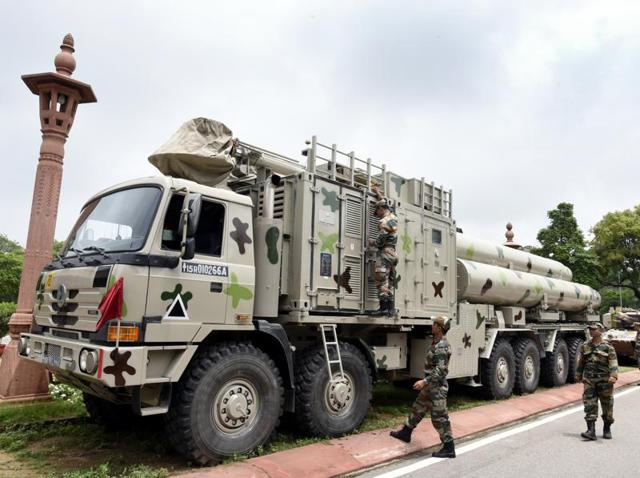 Brahmos missiles are seen at the Parliament House premises in New Delhi.(Sonu Mehta/HT File Photo)