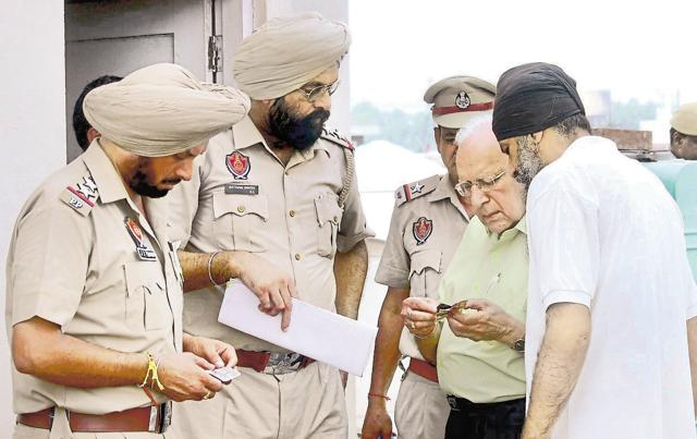 A police team inspecting the scene of crime in Patiala on Sunday; Victim Manisha is reported to have not blamed anyone in her suicide note.