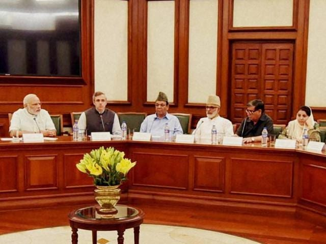 Prime Minister Narendra Modi chairs a meeting with a delegation of opposition parties from Jammu and Kashmir.