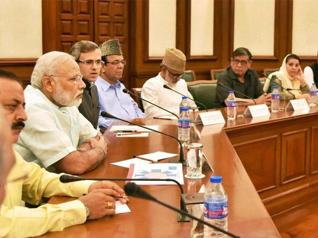 Prime Minister Narendra Modi chairs a meeting with a delegation of opposition parties from Jammu and Kashmir.(PTI Photo)