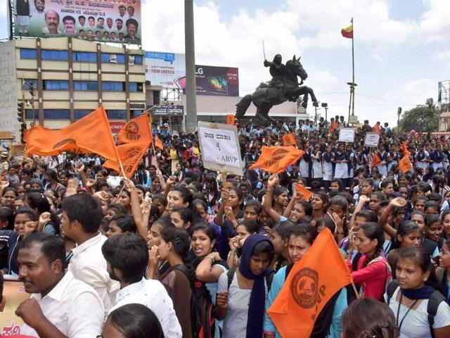 ABVP activists protest against Amnesty International India over allegations of organising an event where anti-national slogans were shouted.