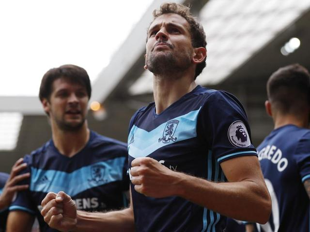 Middlesbrough's Christian Stuani celebrates scoring their first goal.