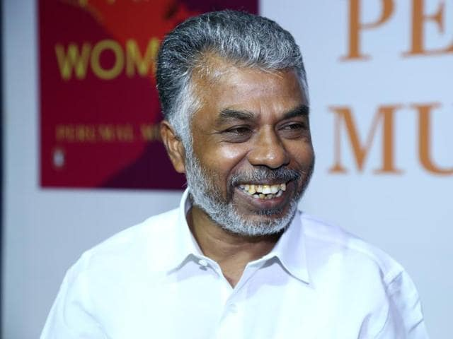 Author Perumal Murugan at the launch of his new book of poems in Delhi on Monday.