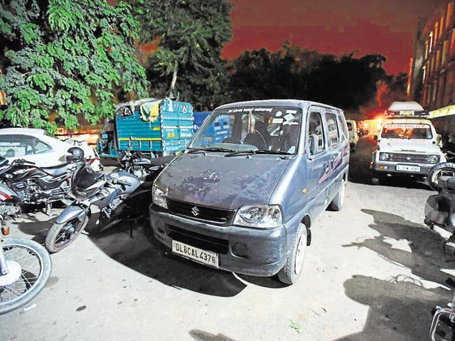 The school van that ran over a three-year-old in Delhi's Civil Lines on Tuesday.