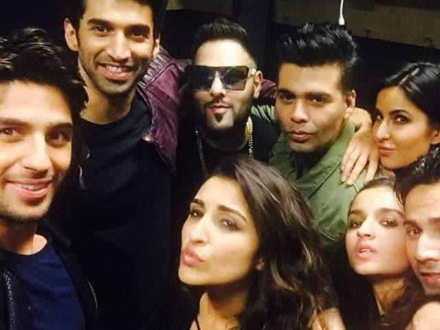 Aditya Roy Kapur, Katrina Kaif, Sidharth Malhotra, Parineeti Chopra, Karan Johar, Badshaah and Ali Bhatt during the Dream Team tour.