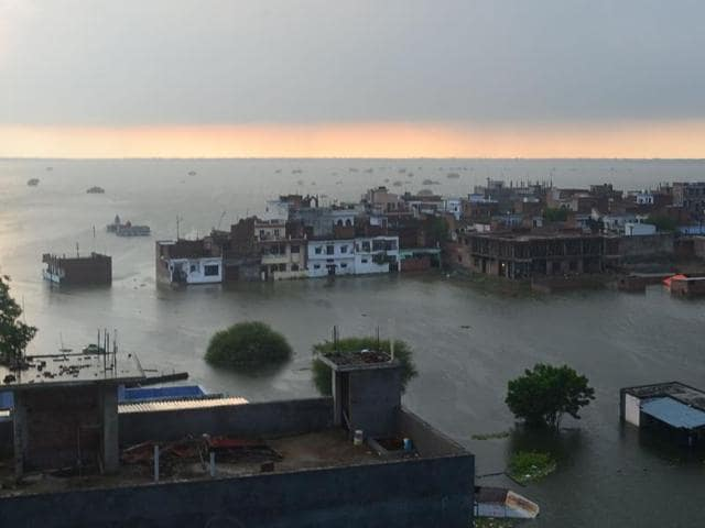 An aerial view of a flooded area in Allahabad.