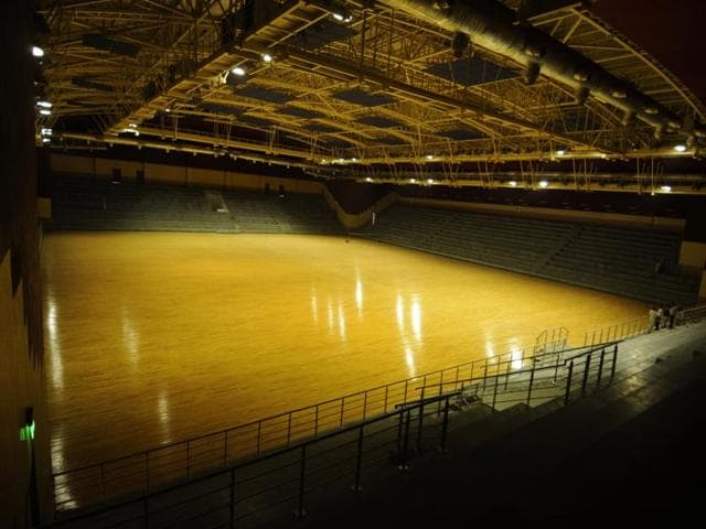 Officials said that 30,000 sq feet of the stadium is allotted for badminton courts.(BURHAAN KINU/HT PHOTO)