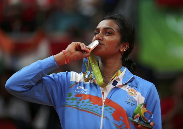PV Sindhu after winning silver in Olympics for women's singles in badminton.