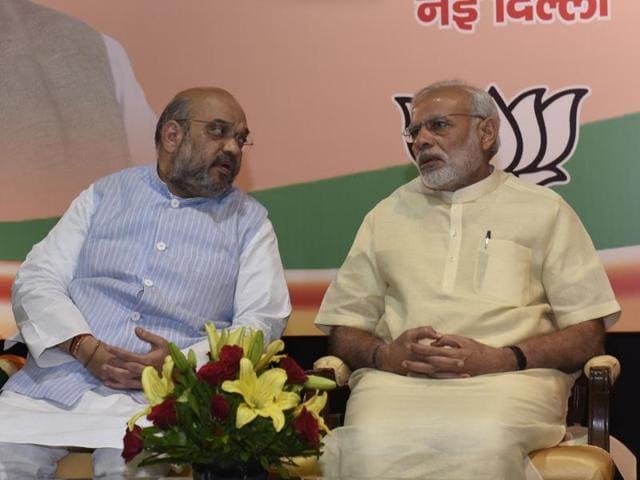 Prime Minister Narendra Modi and BJP president Amit Shah during a meeting of BJP's core group from states.
