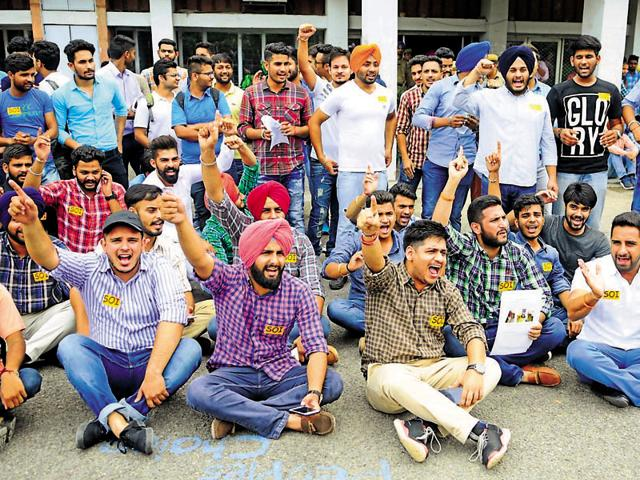 Members of the Student Organisation of India protesting outside the UIET at Panjab University in Chandigarh on Monday.