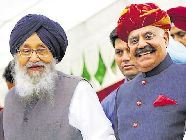 Parkash Singh Badal with VP Singh Badnore at the latter's swearing-in as Punjab governor and Chandigarh administrator on Monday.