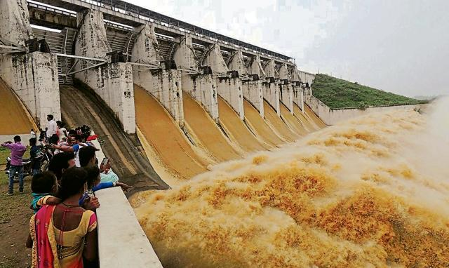 Gates at the Tenughat dam opened to release excess water at Tenughat, Bokaro on Monday.