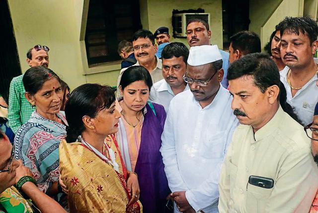 Congress MP Pradeep Kumar Balmuchu with the party workers who were attacked by liquor mafia on Monday.