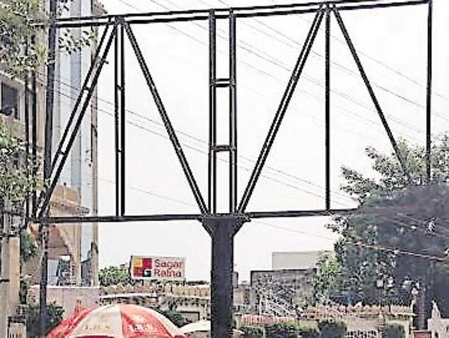Unipole installed for government advertisements on Ferozepur Road in Ludhiana Monday.